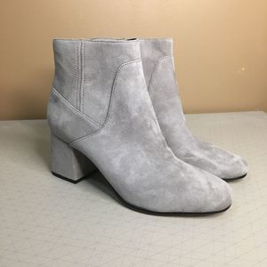 Via Spiga Gray Suede Block Heel Boots Booties 8.5